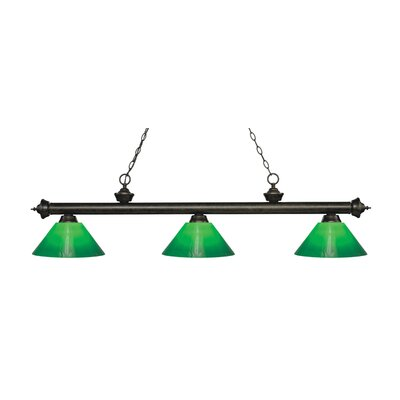 Zephyr 3-Light Billiard Light Finish: Golden Bronze, Shade Color: Green Cased, Size: 14.5 H x 57 W x 14 D