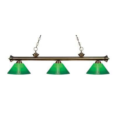 Zephyr Traditional 3-Light Cone Glass Shade Billiard Light Finish: Antique Brass, Shade Color: Green Cased, Size: 15 H x 57 W x 14 D