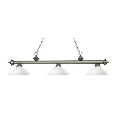 Zephyr 3-Light Billiard Light with Hanging Chain Shade Color: Matte Opal, Finish: Antique Silver