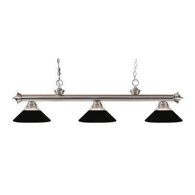 Zephyr 3-Light Incandescent Billiard Light Finish: Brushed Nickel, Shade Color: Matte Black
