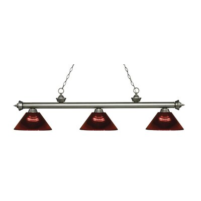 Zephyr Traditional 3-Light Steel Billiard Light Finish: Antique Silver, Shade Color: Burgundy, Size: 14.25 H x 57.25 W x 14.25 D