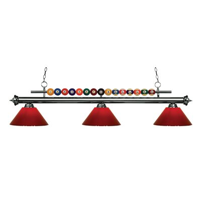 Chapa 3-Light Billiard Light Finish: Gun Metal, Shade Color: Red