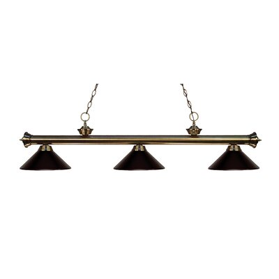 Riviera 3-Light Billiard Light Finish: Antique Brass, Shade Color: Bronze Metal