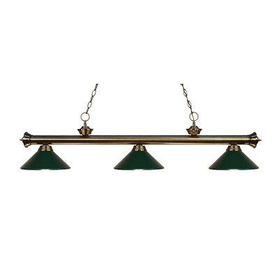 Zephyr Traditional 3-Light Billiard Light Finish: Antique Brass, Shade Color: Dark Green Metal