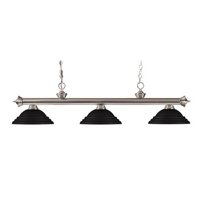 Zephyr Traditional 3-Light Metal Shade Billiard Light Finish: Brushed Nickel, Shade Color: Matte Black