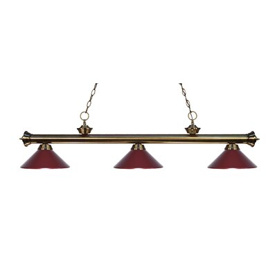 Zephyr Traditional 3-Light Billiard Light Finish: Antique Brass, Shade Color: Dark Wine Metal