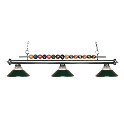 Shark 3-Light Billiard Light Finish: Gun Metal, Shade Color: Clear / Dark Green