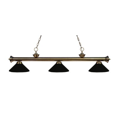 Zephyr Traditional 3-Light Billiard Light Finish: Antique Brass, Shade Color: Matte Black Metal