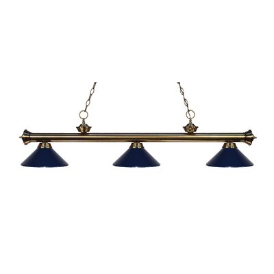 Zephyr Traditional 3-Light Billiard Light Finish: Antique Brass, Shade Color: Navy Blue Metal