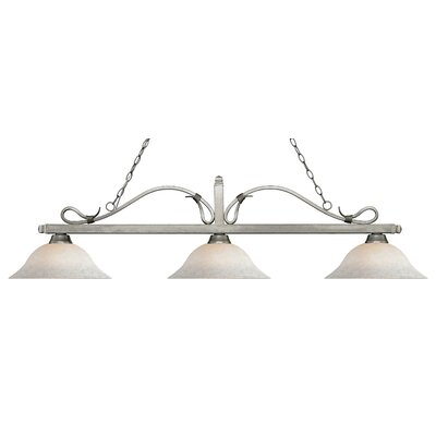 Cendejas 3-Light Billiard Light Finish: Antique Silver, Shade Color: White Mottle