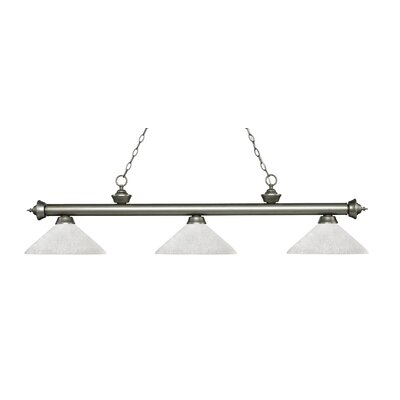 Zephyr 3-Light Billiard Light with Hanging Chain Shade Color: White Linen, Finish: Antique Silver