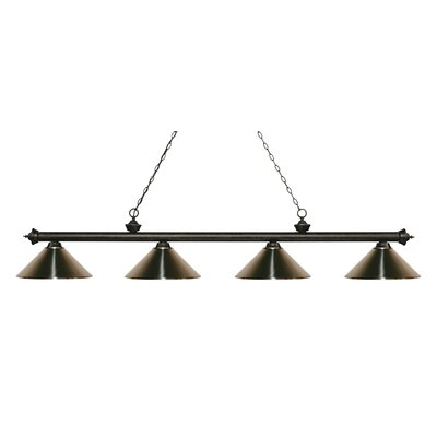Zephyr 4-Light Cone Metal Shade Billiard Light Finish: Golden Bronze, Shade Color: Brushed Nickel