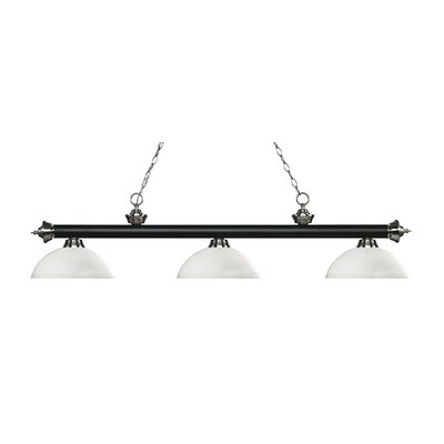 Zephyr Traditional 3-Light Bowl Glass Shade Billiard Light Shade Color: Matte Opal, Finish: Matte Black / Brushed Nickel