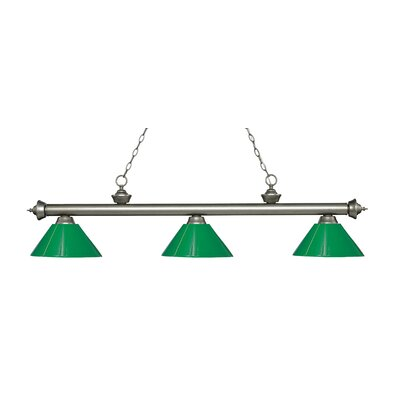 Zephyr 3-Light Adjustable Billiard Light Finish: Antique Silver, Shade Color: Green, Size: 14.25 H x 57 W x 14 D
