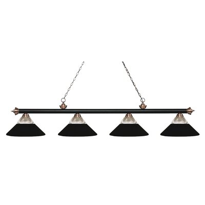 Chapple 4-Light Billiard Light Finish: Matte Black / Antique Copper, Shade Color: Matte Black