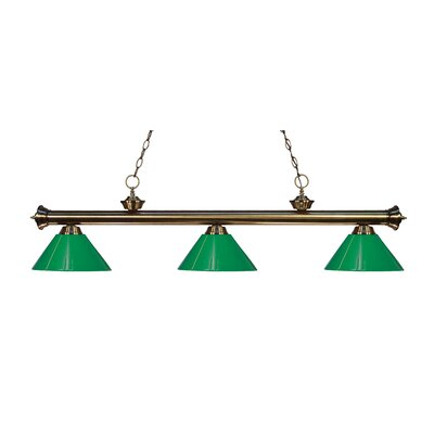 Zephyr Modern 3-Light Steel Billiard Light Finish: Antique Brass, Shade Color: Green