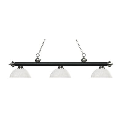 Zephyr Traditional 3-Light Bowl Glass Shade Billiard Light Finish: Matte Black / Brushed Nickel, Shade Color: White Linen