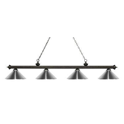 Zephyr 4-Light Cone Metal Shade Billiard Light Finish: Golden Bronze, Shade Color: Chrome