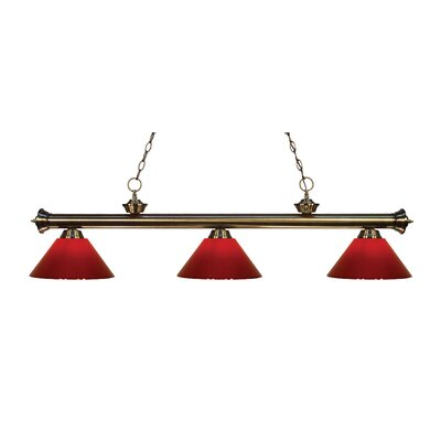 Zephyr Modern 3-Light Steel Billiard Light Shade Color: Red, Finish: Antique Brass