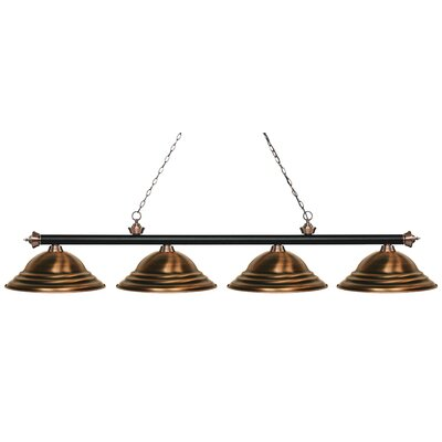 Zephyr 4-Light Metal Shade Billiard Light Finish: Matte Black / Antique Copper, Shade Color: Antique Copper
