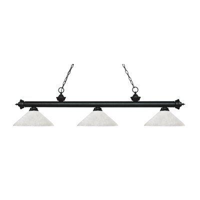 Zephyr 3-Light Billiard Light with Hanging Chain Finish: Matte Black, Shade Color: White Linen