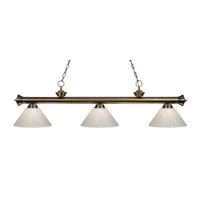 Zephyr Modern 3-Light Steel Billiard Light Finish: Antique Brass, Shade Color: White
