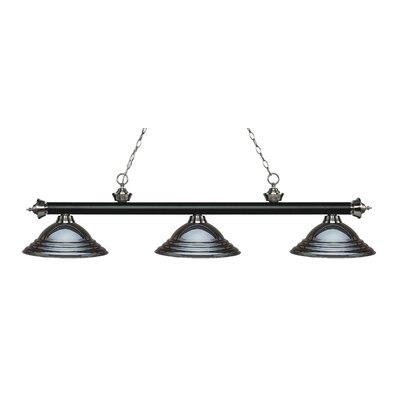 Zephyr 3-Light Cone Shade Billiard Light Finish: Matte Black / Brushed Nickel, Shade Color: Gun Metal