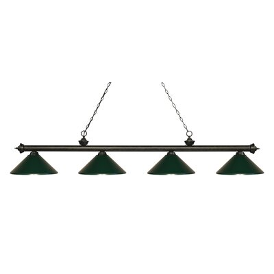 Zephyr 4-Light Cone Metal Shade Billiard Light Finish: Golden Bronze, Shade Color: Dark Green