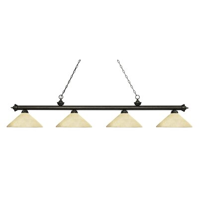 Zephyr 4-Light Cone Glass Shade Billiard Light with Hanging Chain Finish: Golden Bronze, Shade Color: Angle Golden Mottle