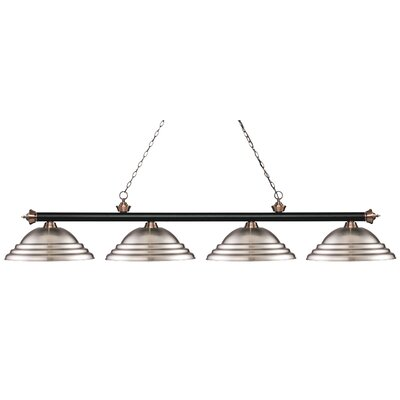 Zephyr 4-Light Metal Shade Billiard Light Finish: Matte Black / Antique Copper, Shade Color: Brushed Nickel