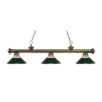 Zephyr 3-Light Incandescent Billiard Light Shade Color: Dark Green, Finish: Antique Brass