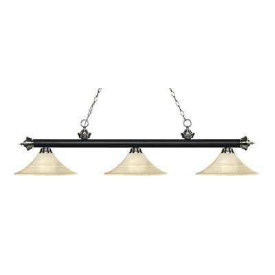 Zephyr 3-Light Bell Shade Billiard Light Finish: Matte Black / Brushed Nickel, Shade Color: Golden Mottle
