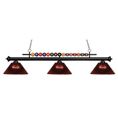 Chapa 3-Light Billiard Light Finish: Matte Black, Shade Color: Burgundy