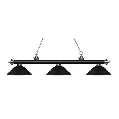 Riviera 3-Light Billiard Light Shade Color: Matte Black, Finish: Matte Black / Brushed Nickel