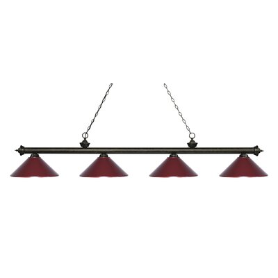 Zephyr 4-Light Cone Metal Shade Billiard Light Shade Color: Dark Wine, Finish: Golden Bronze
