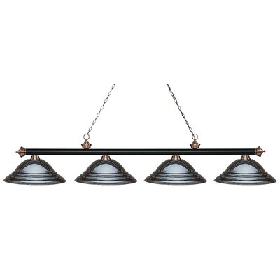 Zephyr 4-Light Metal Shade Billiard Light Finish: Matte Black / Antique Copper, Shade Color: Gun Metal