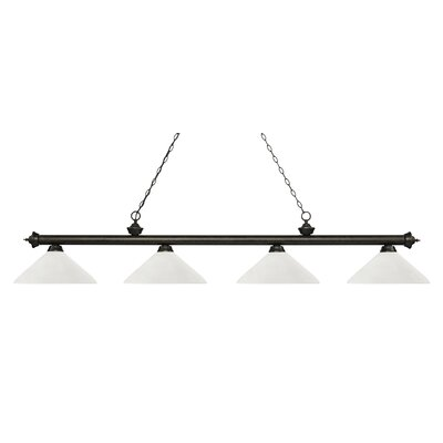 Zephyr 4-Light Cone Glass Shade Billiard Light with Hanging Chain Finish: Golden Bronze, Shade Color: Angle Matte Opal