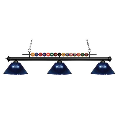 Chapa 3-Light Billiard Light Finish: Matte Black, Shade Color: Dark Blue