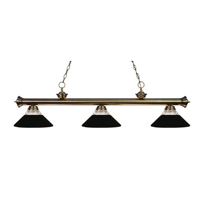 Zephyr 3-Light Incandescent Billiard Light Finish: Antique Brass, Shade Color: Matte Black
