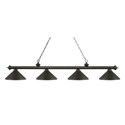 Zephyr 4-Light Cone Metal Shade Billiard Light Finish: Golden Bronze, Shade Color: Golden Bronze