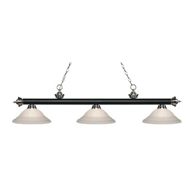Zephyr 3-Light Glass Shade Billiard Light Finish: Matte Black / Brushed Nickel