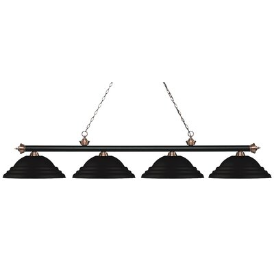 Zephyr 4-Light Metal Shade Billiard Light Finish: Matte Black / Antique Copper, Shade Color: Matte Black
