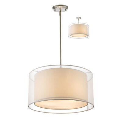 Sedona 3-Light Drum Pendant Shade Color: White