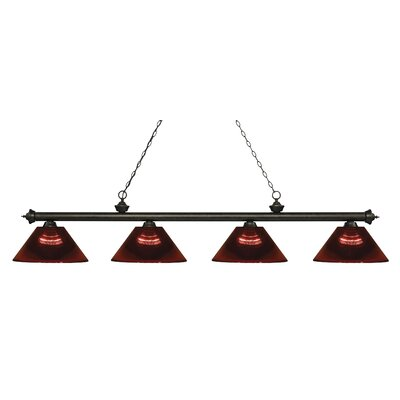 Zephyr 4-Light Adjustable Billiard Light Finish: Golden Bronze, Shade Color: Burgundy