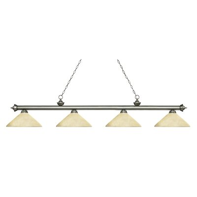 Zephyr 4-Light Cone Glass Shade Billiard Light with Hanging Chain Finish: Antique Silver, Shade Color: Golden Mottle