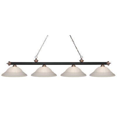 Zephyr 4-Light Steel Billiard Light Finish: Matte Black / Antique Copper