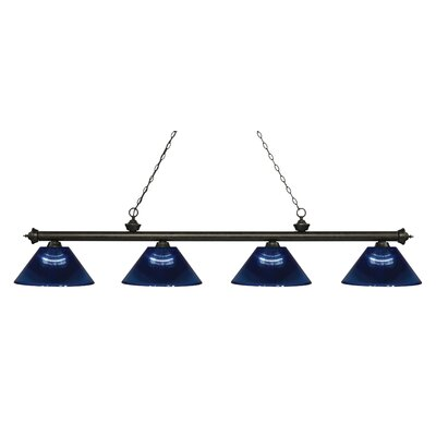 Zephyr 4-Light Adjustable Billiard Light Finish: Golden Bronze, Shade Color: Dark Blue