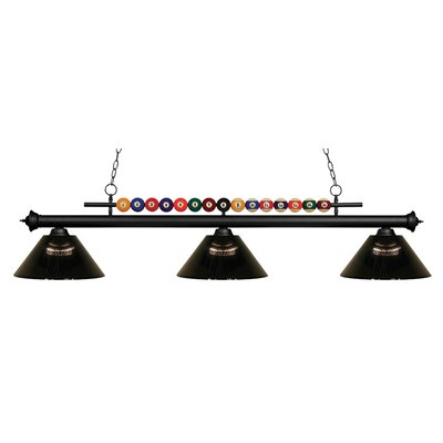 Chapa 3-Light Billiard Light Finish: Matte Black, Shade Color: Smoke