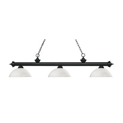 Zephyr Traditional 3-Light Bowl Glass Shade Billiard Light Finish: Matte Black, Shade Color: Matte Opal