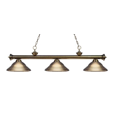 Zephyr Traditional 3-Light Metal Shade Billiard Light Finish: Antique Brass, Shade Color: Antique Brass